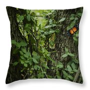 Orange On Green Throw Pillow