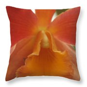 Orange Orchid 2 Throw Pillow