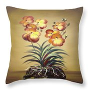 Orange Orchid Flowers Throw Pillow