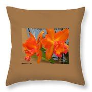 Orange Orchid Throw Pillow