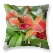 Orange Orchids 2 Throw Pillow