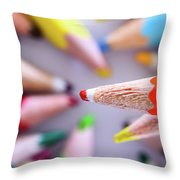 Orange Pencil Throw Pillow