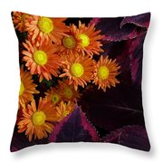 Orange Petals And Purple Leaves Throw Pillow