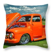 Orange Pick Up At The Car Show Throw Pillow