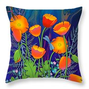 Orange Poppies And Forget Me Nots Throw Pillow