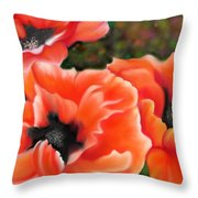 Orange Poppies Throw Pillow