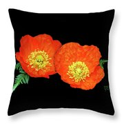 Orange Poppy Collage Cutout Throw Pillow