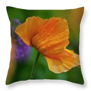 Orange Poppy Flower Throw Pillow