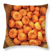 Orange Pumpkins Autumn Background. Throw Pillow