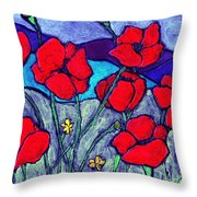 Orange  Red Poppies Throw Pillow
