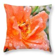 Orange Rose Raindrops Throw Pillow