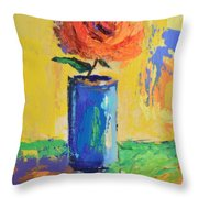 Orange Rose With Yellow Background Throw Pillow