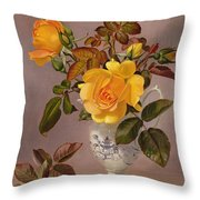 Orange Roses In A Blue And White Jug Throw Pillow