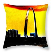 Orange Skies And The Arch Throw Pillow