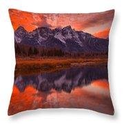 Orange Skies Over The Tetons Throw Pillow