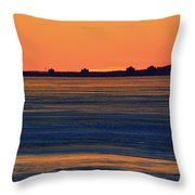Orange Sky Above The Ice Of Kempenfelt Bay  Throw Pillow