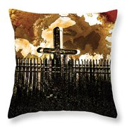 Orange Sky Cross Throw Pillow