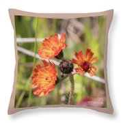 Orange Small Flowers With Buds Throw Pillow