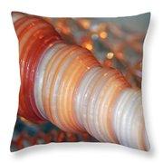 Orange Spiral Shell Throw Pillow