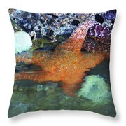 Orange Starfish Throw Pillow