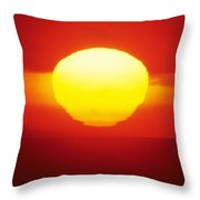 Orange Sunball Throw Pillow