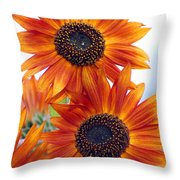 Orange Sunflower 2 Throw Pillow