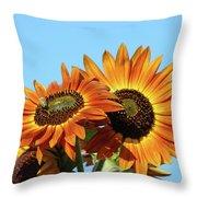 Orange Sunflowers Summer Blue Sky Art Prints Baslee Throw Pillow