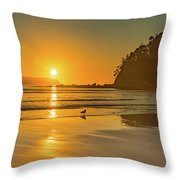Orange Sunrise Seascape And Beach Throw Pillow