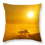 Orange Sunset - Haleakala Throw Pillow
