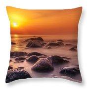 Orange Sunset Long Exposure Over Sea And Rocks Throw Pillow
