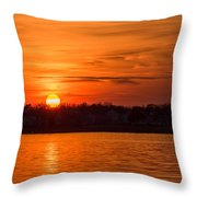 Orange Sunset Sky Island Heights Nj Throw Pillow