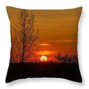Orange Sunset Through The Trees Throw Pillow