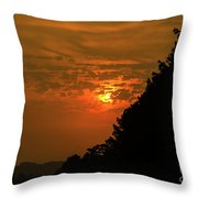 Orange Sunset With Tree Silhouette Throw Pillow