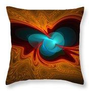 Orange Swirl With Blue Throw Pillow