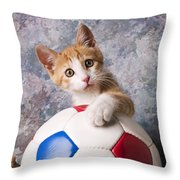 Orange Tabby Kitten With Soccer Ball Throw Pillow