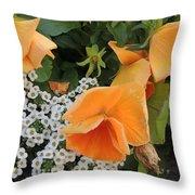 Orange Teardrop With White Lace Throw Pillow