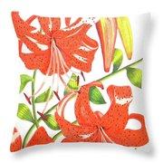 Orange Tiger Lilies Throw Pillow