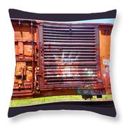 Orange Train Car Throw Pillow