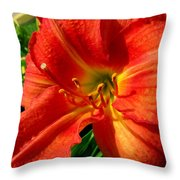 Orange Trumpeting Lily Throw Pillow