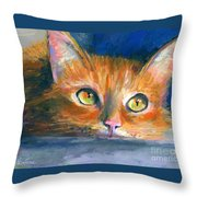 Orange Tubby Cat Painting Throw Pillow by Svetlana Novikova