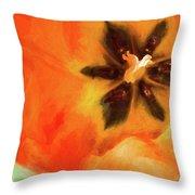 Orange Tulip Bloom Throw Pillow