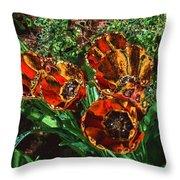 Orange Tulip Chrome Throw Pillow