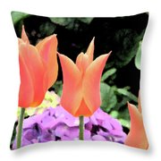 Orange Tulip Painting  Throw Pillow