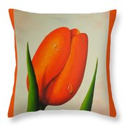 Orange Tulip Still Life Throw Pillow