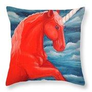 Orange Unicorn Throw Pillow
