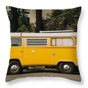 Orange Vw Bus Throw Pillow