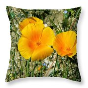Orange Wildflowers Throw Pillow