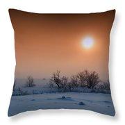Warm Winter Sun Snow Duel Throw Pillow
