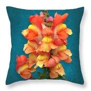 Orange Yellow Snapdragon Flowers Throw Pillow
