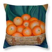 Oranges In A Basket Throw Pillow